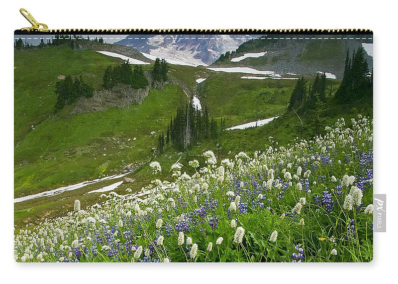 Rainier Carry-all Pouch featuring the photograph Lupine Storm by Mike Dawson