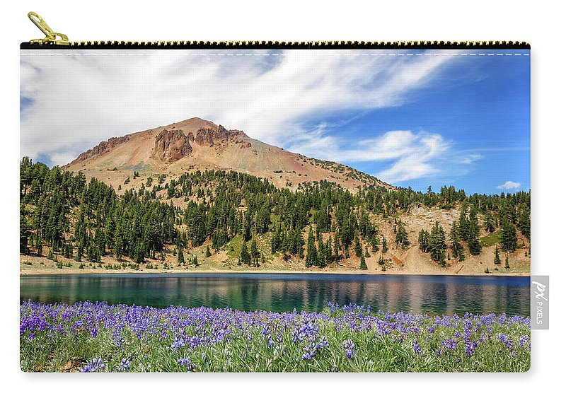 Mount Lassen Carry-all Pouch featuring the photograph Lupines Lake And Lassen by James Eddy