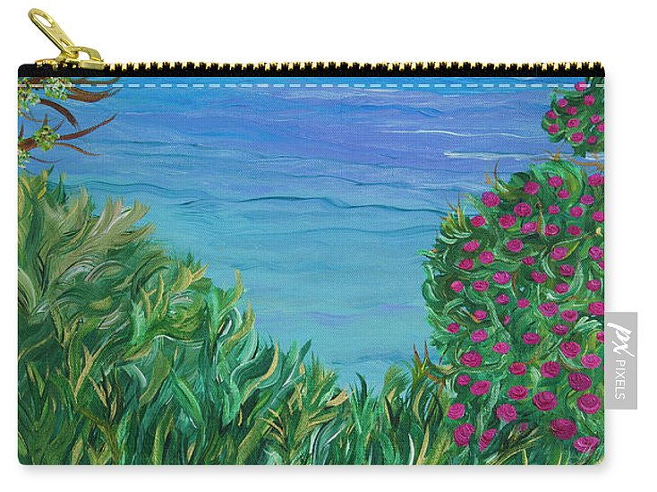 Beach Scene Carry-all Pouch featuring the painting Lush Brush by Sara Credito