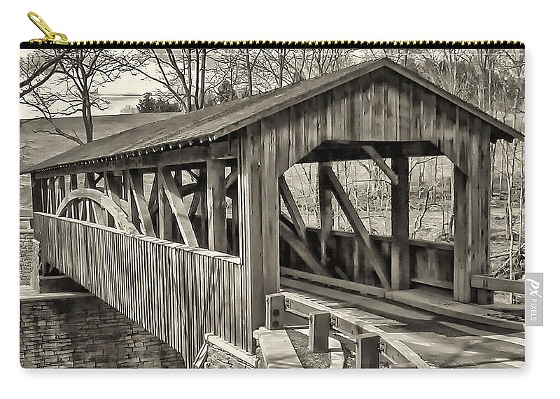 Landscape Carry-all Pouch featuring the photograph Luther Mills Bridge In Monochrome by Lou Cardinale