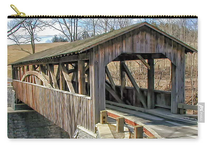 Landscape Carry-all Pouch featuring the photograph Luther Mills Bridge by Lou Cardinale