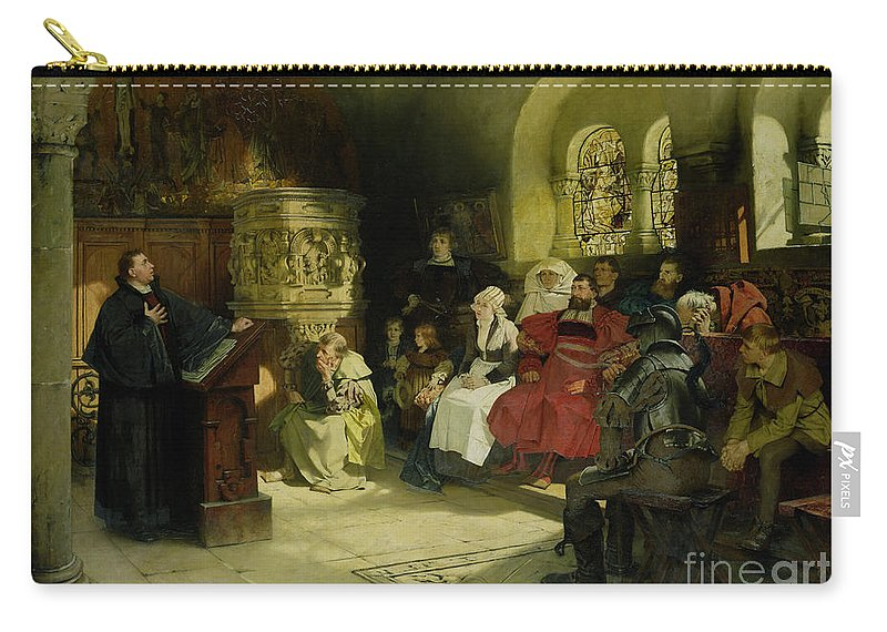 Vogel Carry-all Pouch featuring the painting Luther Preaches Using His Bible Translation While Imprisoned At Wartburg by Hugo Vogel
