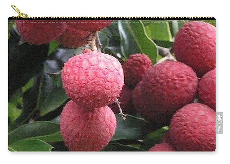 Red Carry-all Pouch featuring the photograph Lychee by Mary Deal