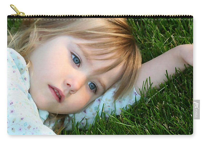 Girl Carry-all Pouch featuring the photograph Lying In The Grass by Margie Wildblood