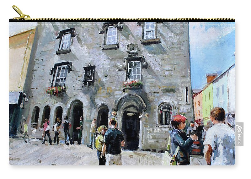 Lynches Castle Galway Carry-all Pouch featuring the painting Lynches Castle Galway City by Conor McGuire