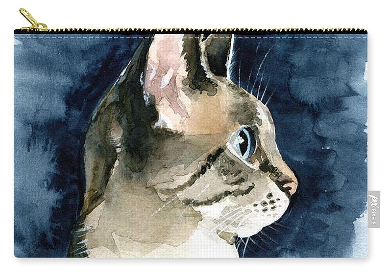 Cat Carry-all Pouch featuring the painting Lynx Point Cat Portrait by Dora Hathazi Mendes