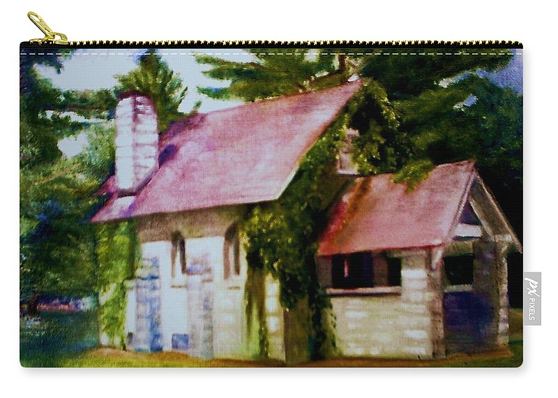 Church Carry-all Pouch featuring the painting Lyons Falls Church by Sheila Mashaw