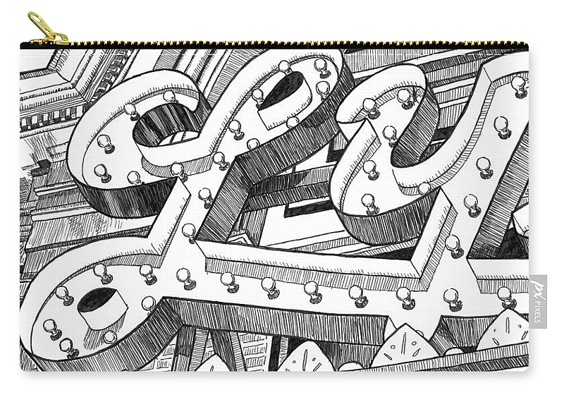 Lyric Carry-all Pouch featuring the drawing Lyric Theatre by Greg Smith