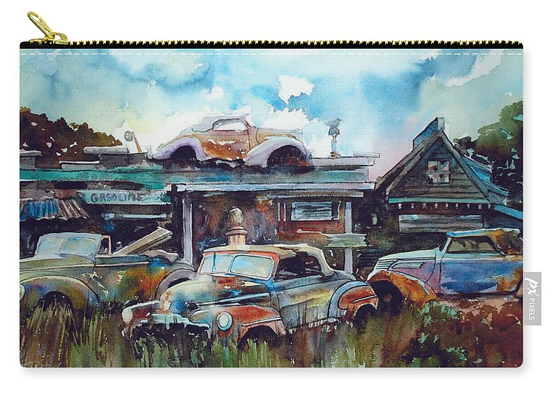 Fords Carry-all Pouch featuring the painting Lytton Station by Ron Morrison