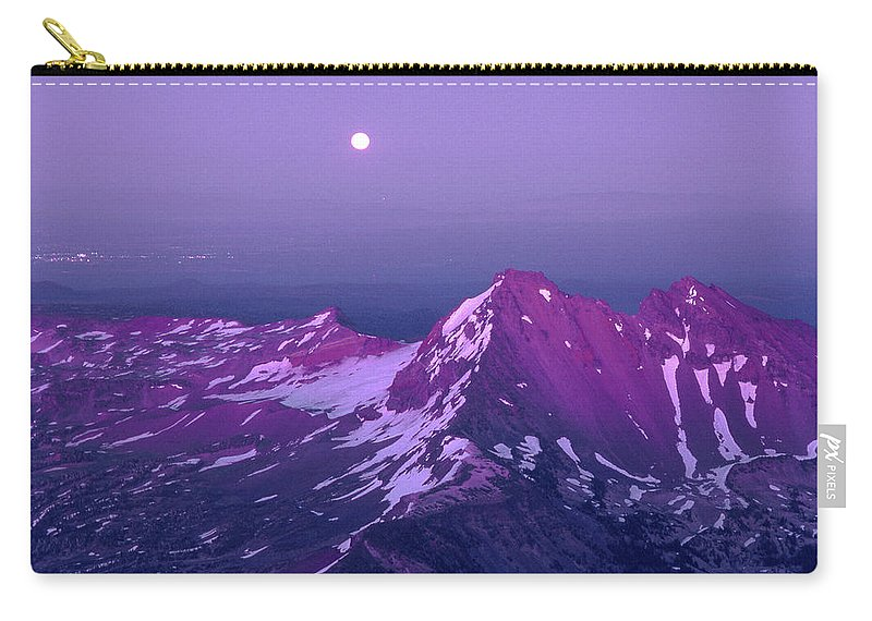 M05413 Carry-all Pouch featuring the photograph M05413 Moonrise Over Broken Top by Ed Cooper Photography