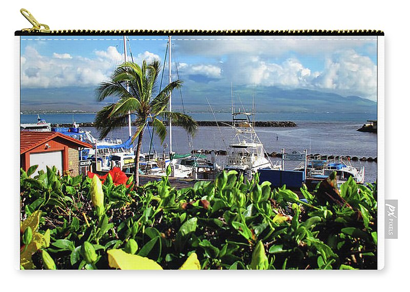 Boat Carry-all Pouch featuring the digital art Maalaea Boat Harbor by Joan Minchak