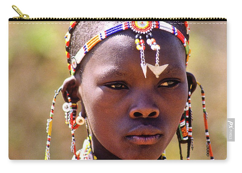 Africa Carry-all Pouch featuring the photograph Maasai Beauty by Michele Burgess