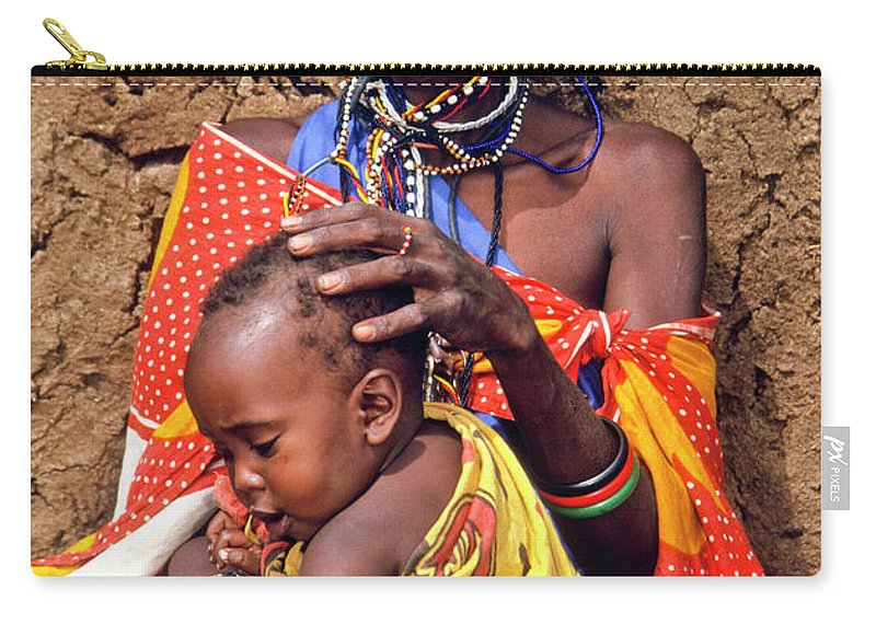 Africa Carry-all Pouch featuring the photograph Maasai Grandmother And Child by Michele Burgess