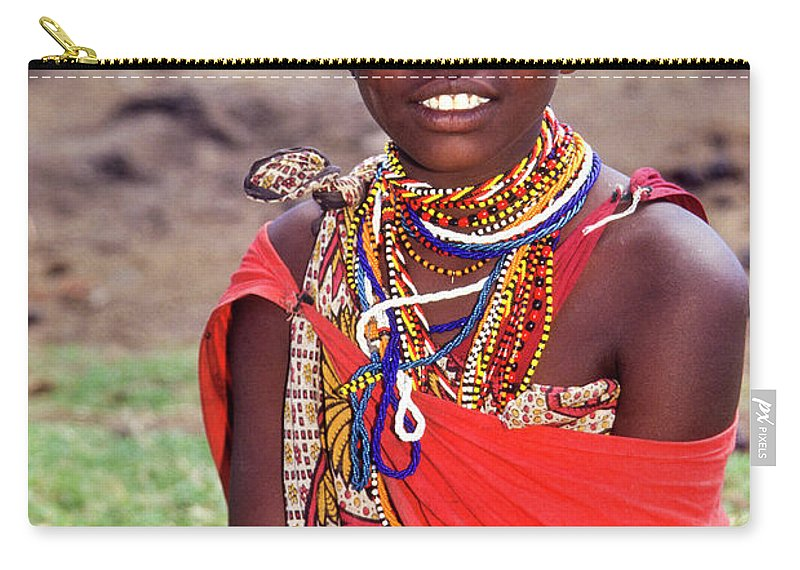 Africa Carry-all Pouch featuring the photograph Maasai Teenager by Michele Burgess