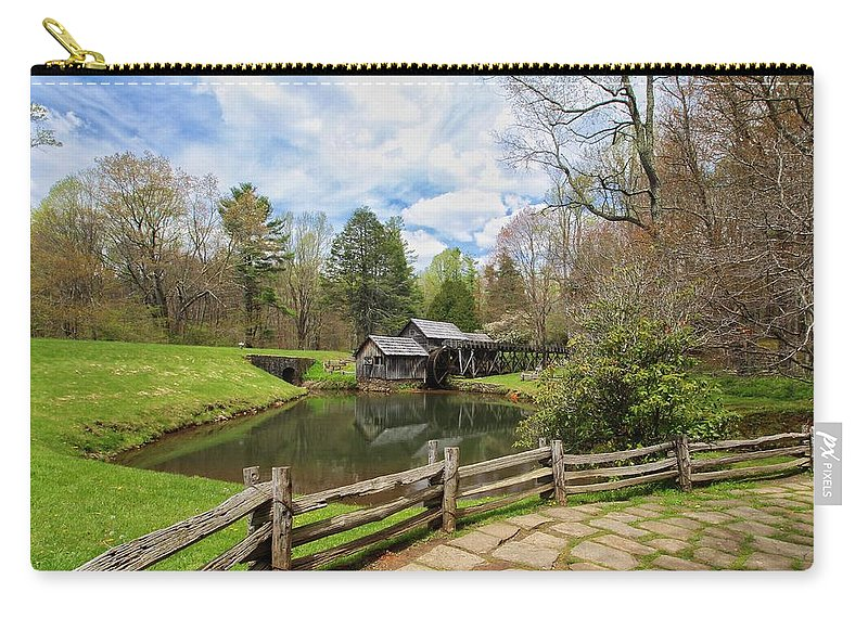 Mabry Mill Carry-all Pouch featuring the photograph Mabry Mill In The Spring by Chris Berrier