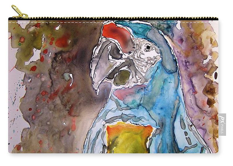 Parrot Carry-all Pouch featuring the painting Macaw Parrot by Derek Mccrea
