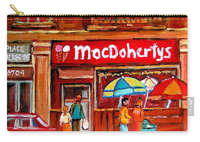 Macdohertys Carry-all Pouch featuring the painting Macdohertys Icecream Parlor by Carole Spandau