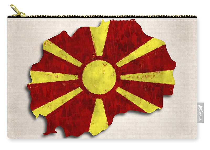 Macedonia Carry-all Pouch featuring the digital art Macedonia Map Art With Flag Design by World Art Prints And Designs