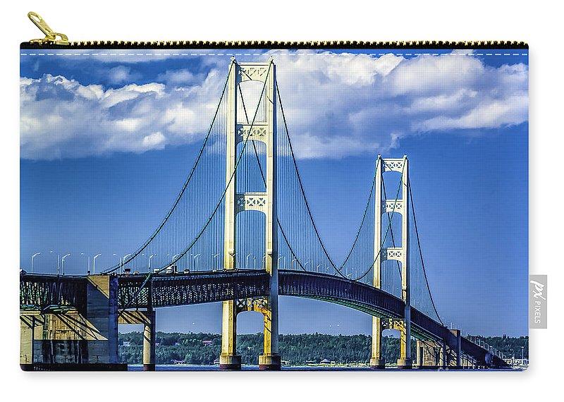Mackinac Bridge Carry-all Pouch featuring the photograph Mackinac Bridge by Nick Zelinsky