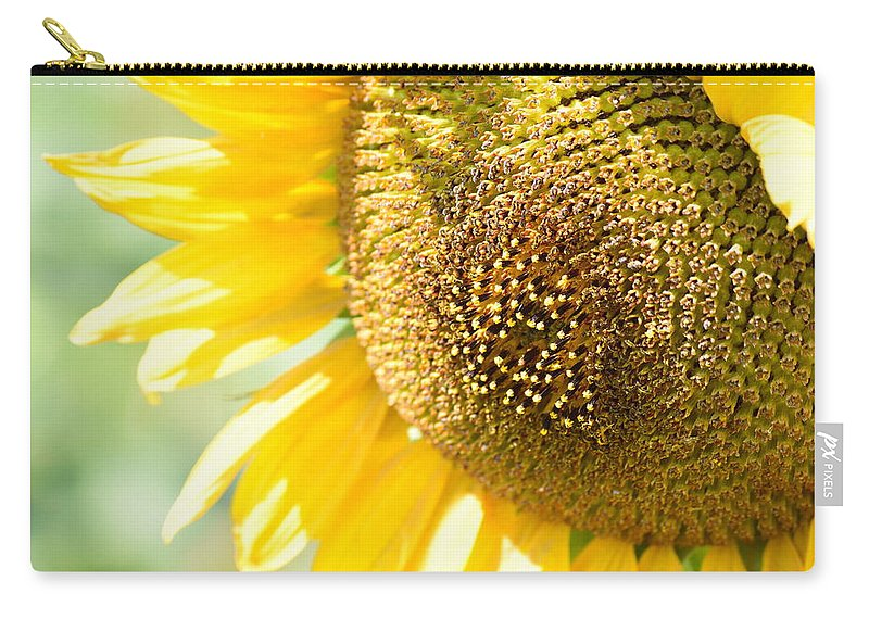 Sunflower Carry-all Pouch featuring the photograph Macro Photography Of Sunflower by Miomir Magdevski