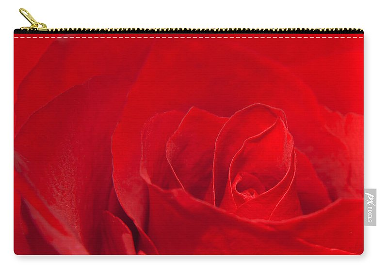 Rose Carry-all Pouch featuring the photograph Macro Red Rose by Svetlana Sewell