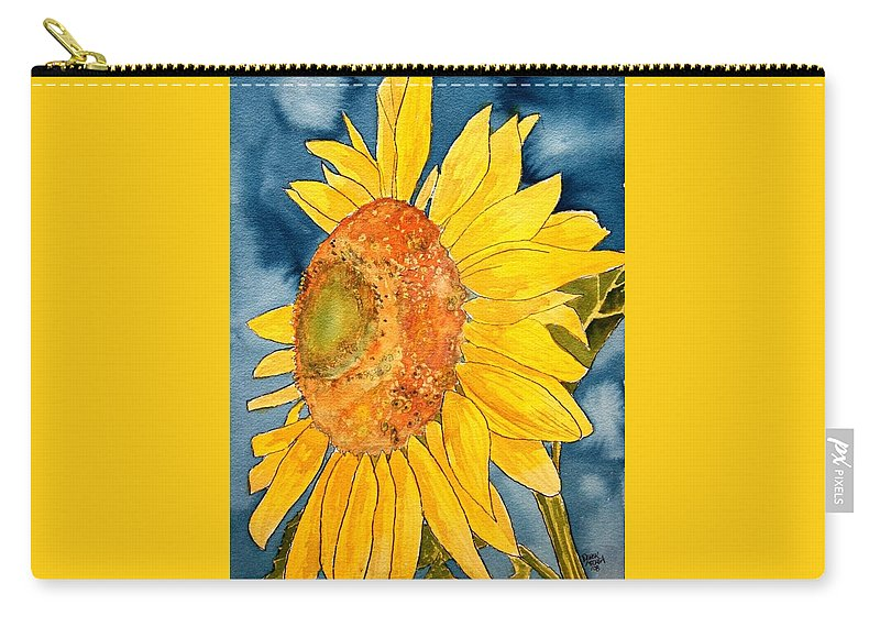 Sunflower Carry-all Pouch featuring the painting Macro Sunflower Art by Derek Mccrea