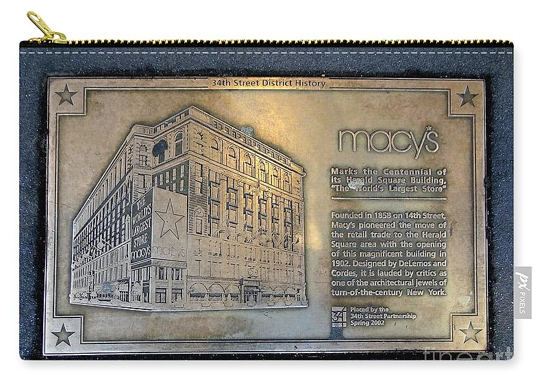 Macy's Department Store Carry-all Pouch featuring the photograph Macy's Centennial Plaque by Ed Weidman