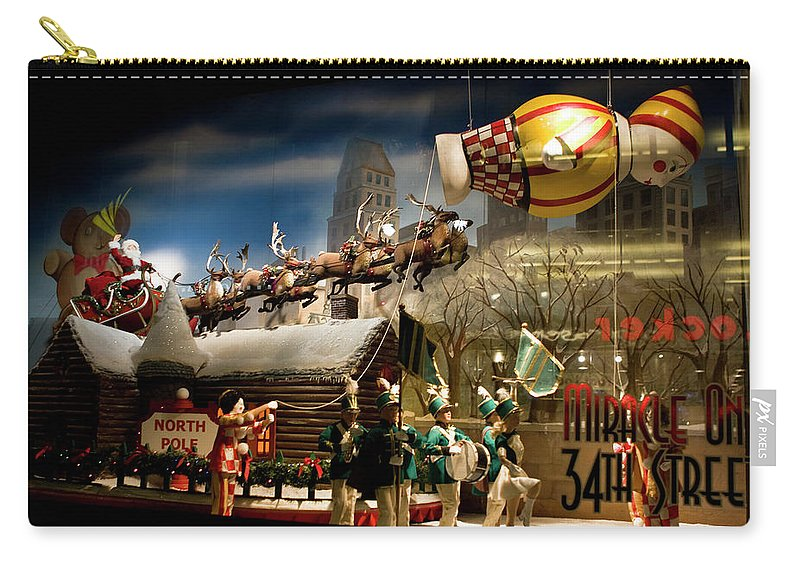 New York City Carry-all Pouch featuring the photograph Macy's Miracle On 34th Street Christmas Window by Lorraine Devon Wilke
