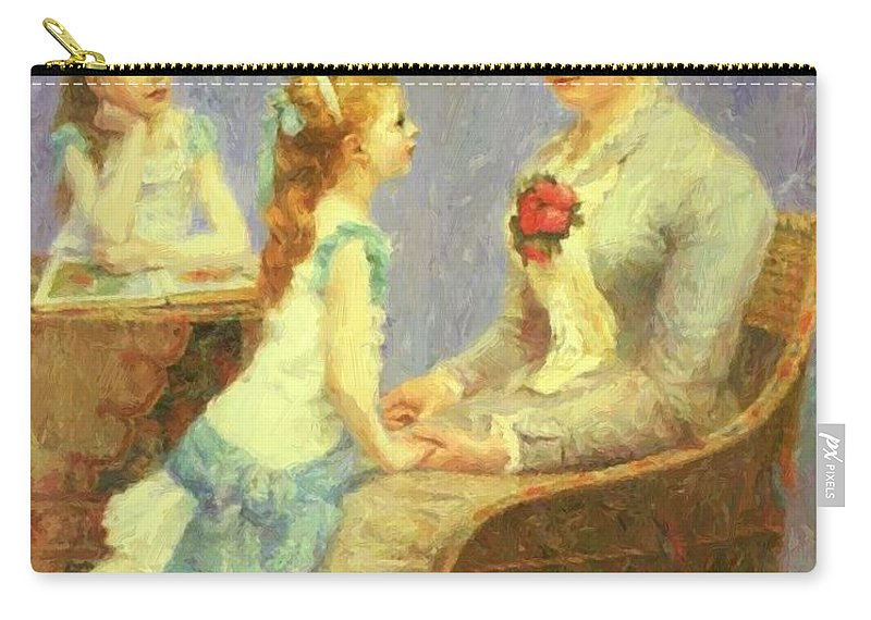 Madame Carry-all Pouch featuring the painting Madame Bouchet Et Ses Filles by DuboisPillet Albert