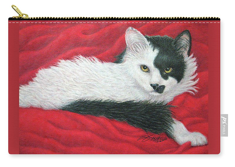 Pet Portraits Carry-all Pouch featuring the drawing Maddie In Red by Beverly Fuqua