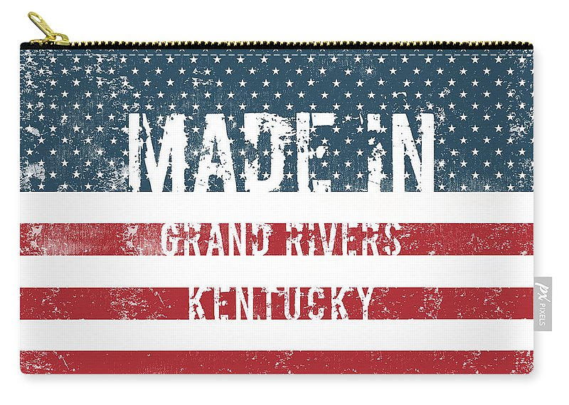 Grand Rivers Carry-all Pouch featuring the digital art Made In Grand Rivers, Kentucky by Tinto Designs