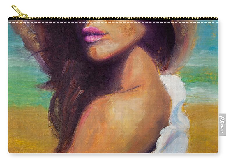 Girl Carry-all Pouch featuring the painting Made In The Shade by Jason Reinhardt