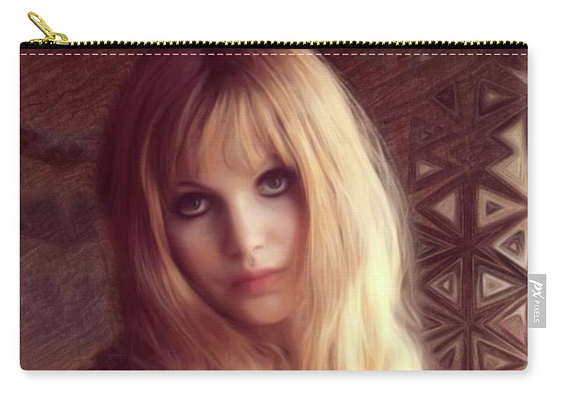 Madeline Carry-all Pouch featuring the digital art Madeline Smith, Vintage Actress by Mary Bassett