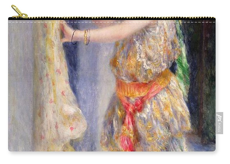 Female; Portrait; Traditional Algerian Costume; Young Girl; Child; Children; Impressionist; Bird; Innocent; Innocence; Fancy Dress Carry-all Pouch featuring the painting Mademoiselle Fleury In Algerian Costume by Pierre Auguste Renoir