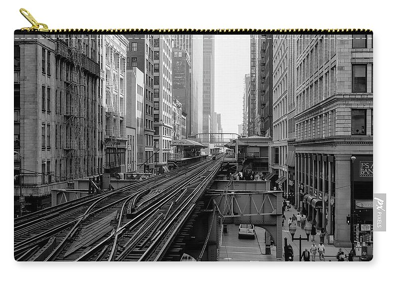 Chicago El Carry-all Pouch featuring the photograph Madison St - Wabash Station - Chicago Loop by Daniel Hagerman