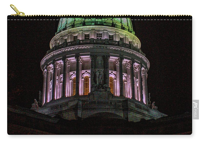 Madison. Wisconsin Carry-all Pouch featuring the photograph Madison Wi At Night by Tommy Anderson