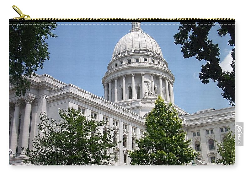 Madison Carry-all Pouch featuring the photograph Madison Wi State Capitol by Anita Burgermeister