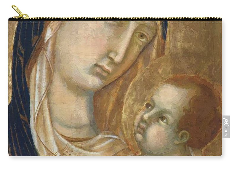 Madonna Carry-all Pouch featuring the painting Madonna And Child Fragment by Duccio