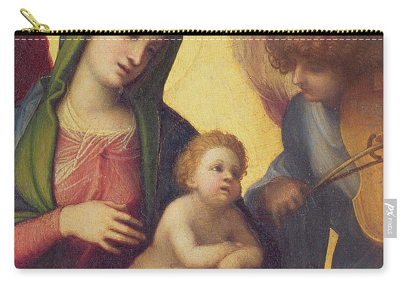 Madonna Carry-all Pouch featuring the painting Madonna And Child With Angels by Correggio