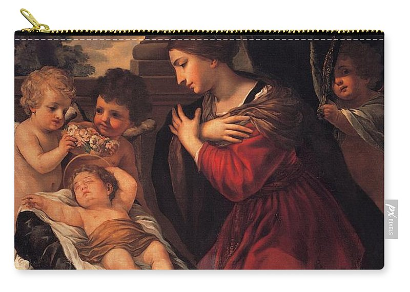 Painting Carry-all Pouch featuring the painting Madonna And Child With Child And Angles by Mountain Dreams