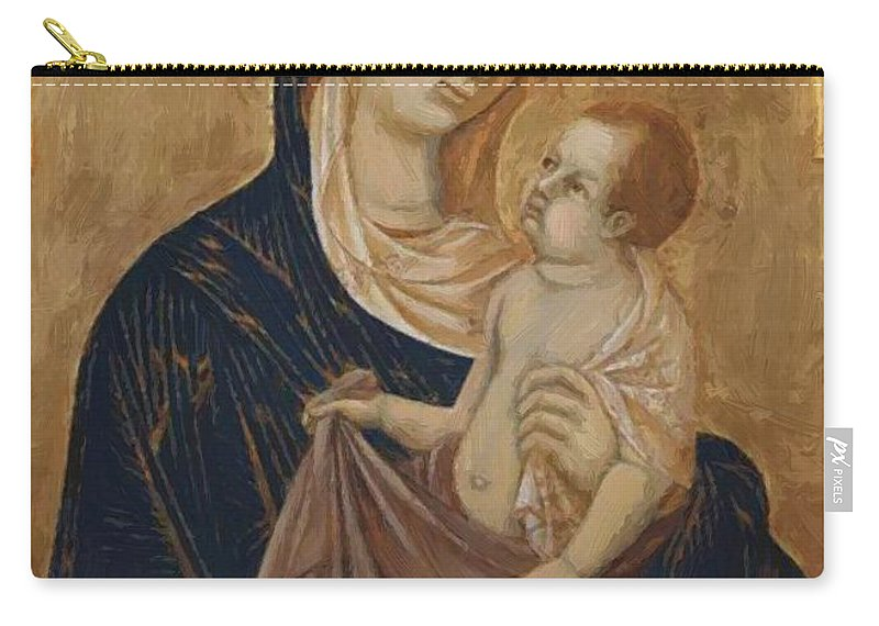 Madonna Carry-all Pouch featuring the painting Madonna by Duccio