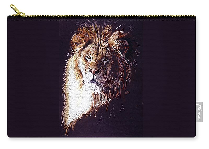 Lion Carry-all Pouch featuring the drawing Maestro by Barbara Keith