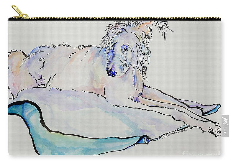 Animal Portrait Carry-all Pouch featuring the painting Maevis by Pat Saunders-White