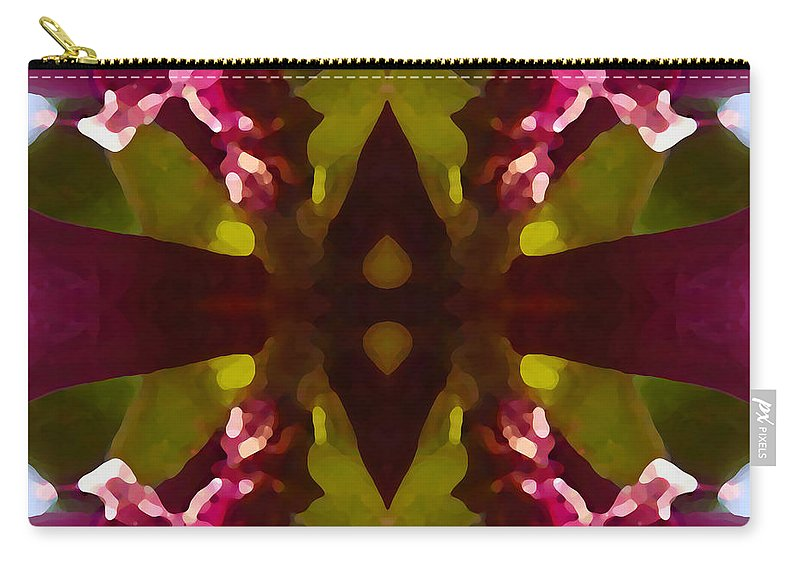Abstract Painting Carry-all Pouch featuring the digital art Magent Crystal Flower by Amy Vangsgard