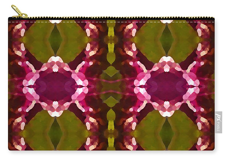 Abstract Carry-all Pouch featuring the painting Magenta Crystal Pattern by Amy Vangsgard