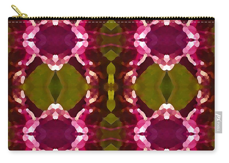 Abstract Painting Carry-all Pouch featuring the digital art Magenta Crystals Pattern 2 by Amy Vangsgard
