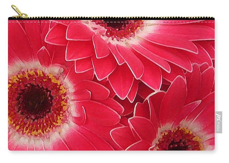Daisy Carry-all Pouch featuring the painting Magenta Gerber Daisies by Amy Vangsgard