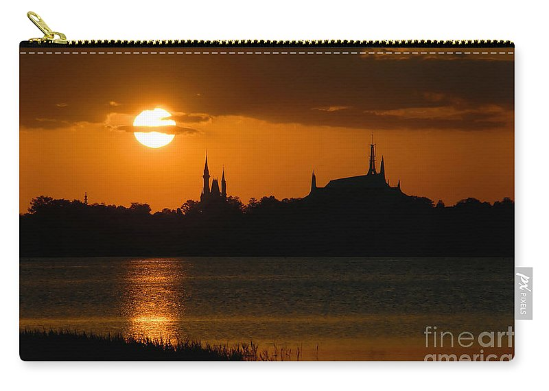 Disney World Carry-all Pouch featuring the photograph Magic Kingdom Sunset by David Lee Thompson