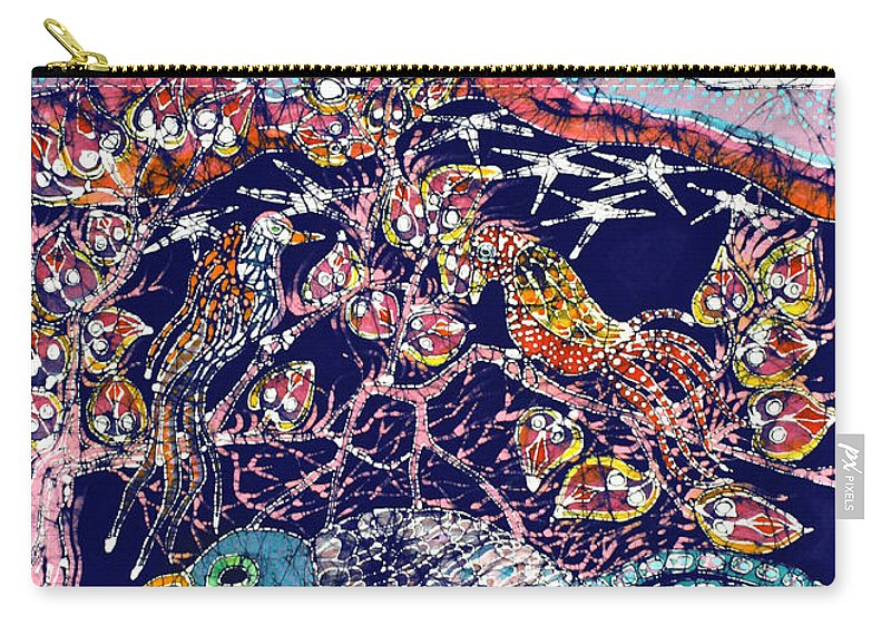 Batik Carry-all Pouch featuring the tapestry - textile Magical Birds by Carol Law Conklin