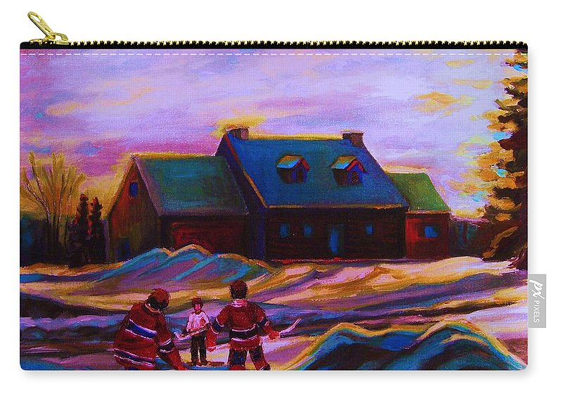 Hockey Carry-all Pouch featuring the painting Magical Day For Hockey by Carole Spandau